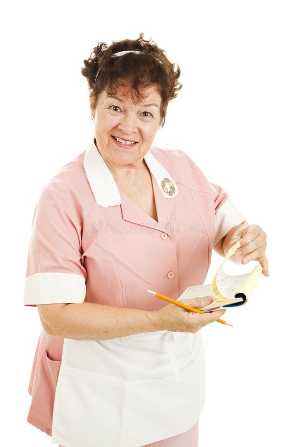 Empregada de mesa - estilo retro imagem de stock