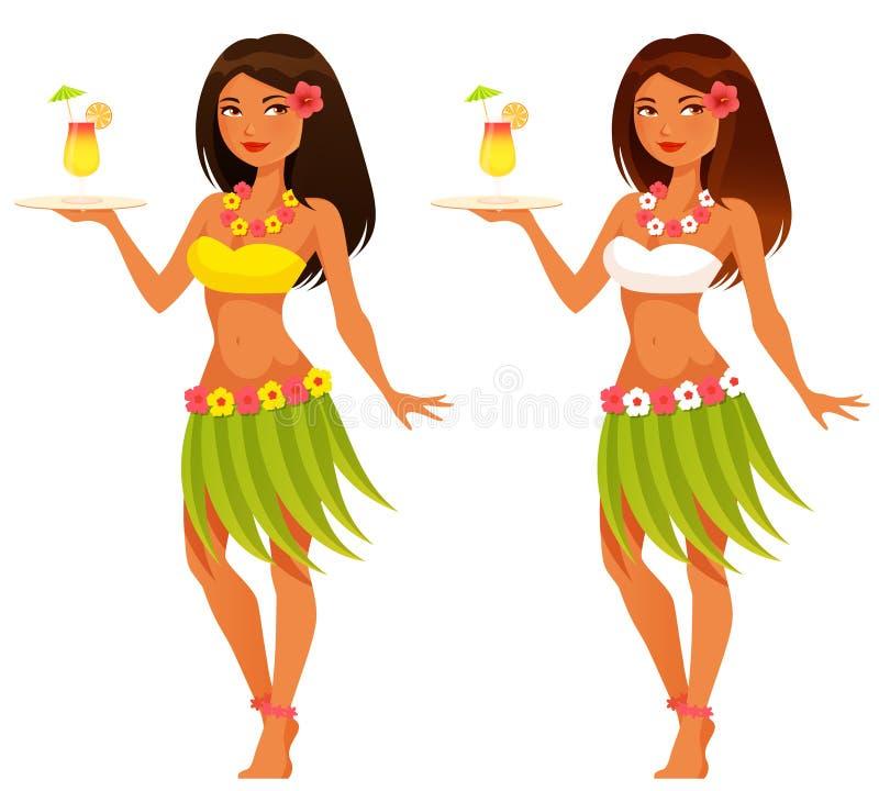 Empregada de mesa havaiana que serve um suco de fruta ilustração stock