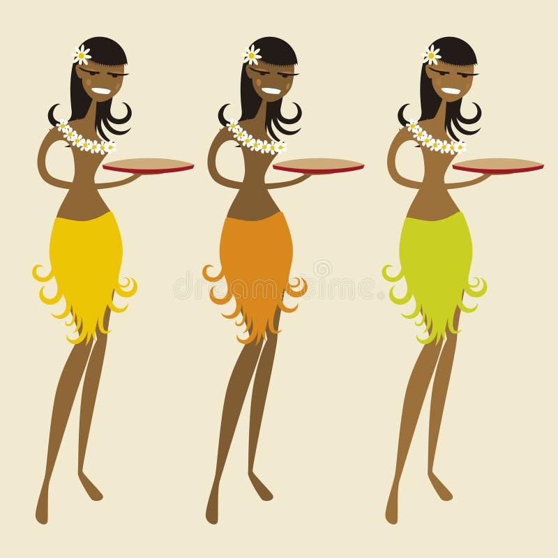 Empregada de mesa havaiana (vetor) ilustração do vetor