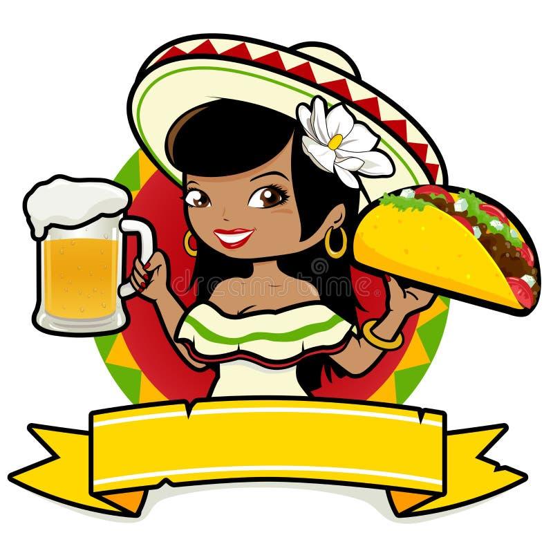 Empregada de mesa mexicana da mulher que guarda a cerveja e o taco ilustração do vetor