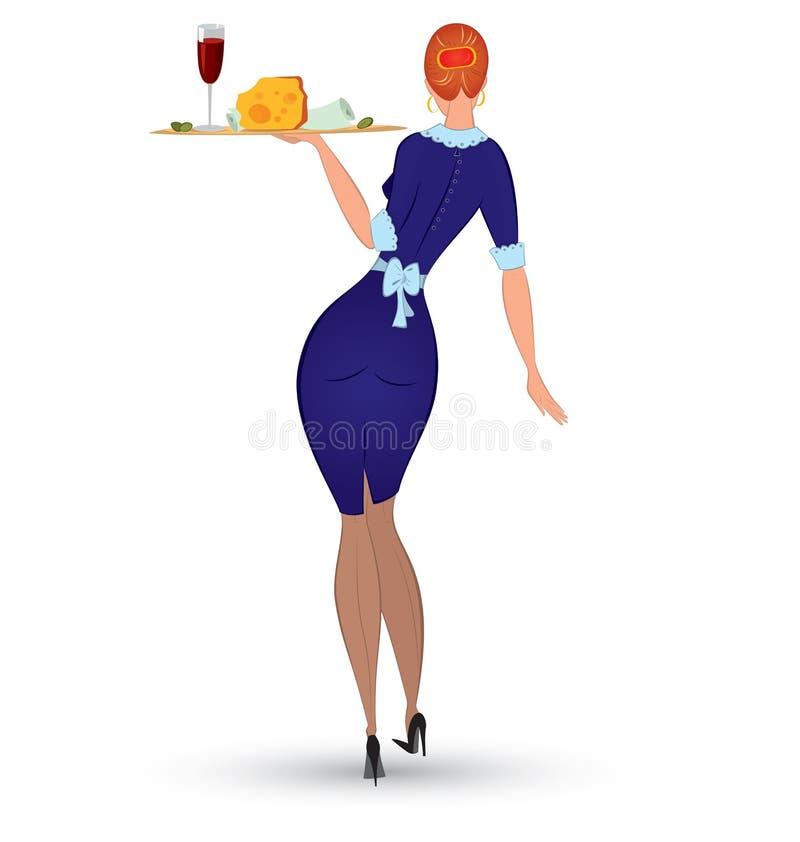 Empregada de mesa no vetor uniforme azul ilustração royalty free