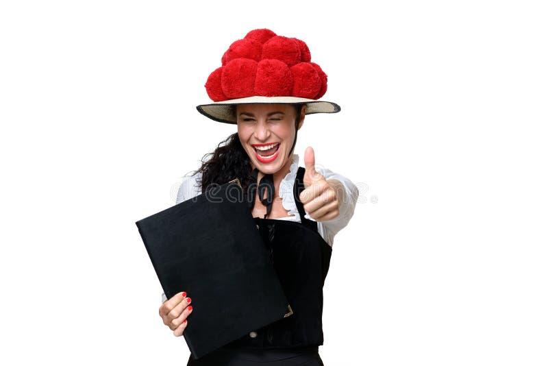 Empregada de mesa nova de riso entusiástica da Floresta Negra imagens de stock