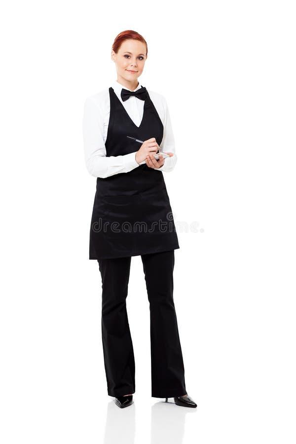 Empregada de mesa que toma o pedido fotografia de stock