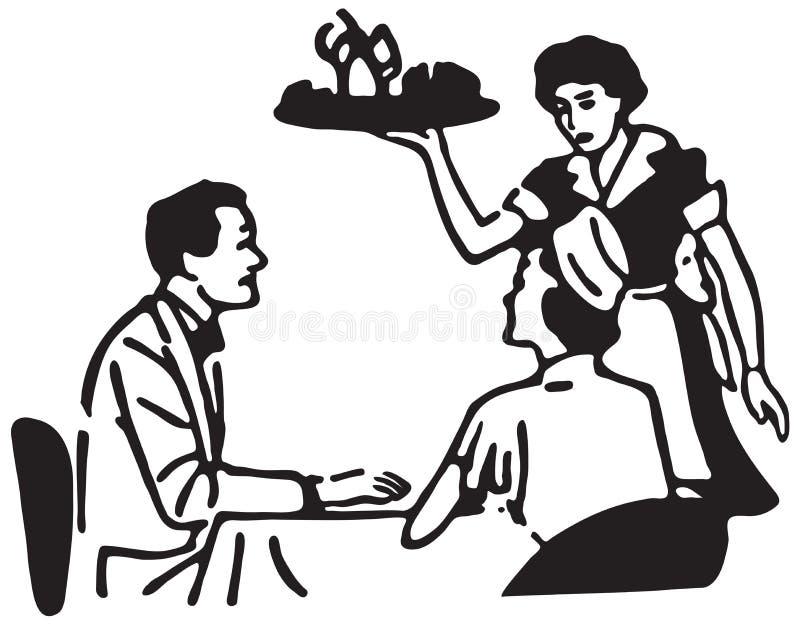 Empregada de mesa Serving Couple ilustração do vetor