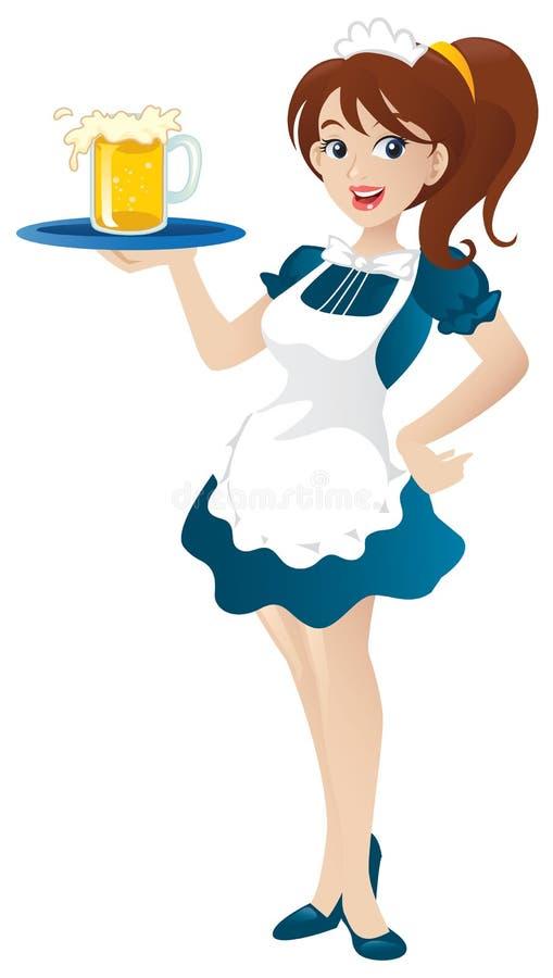 Empregada de mesa 'sexy' ilustração royalty free