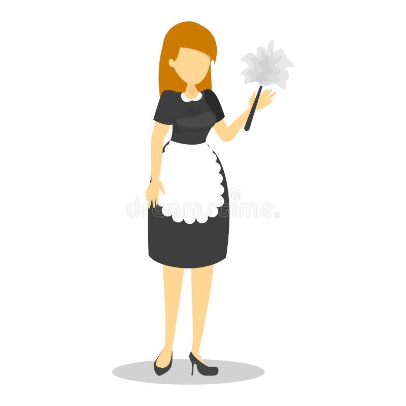 Empregada doméstica bonita no uniforme preto e no avental branco ilustração royalty free