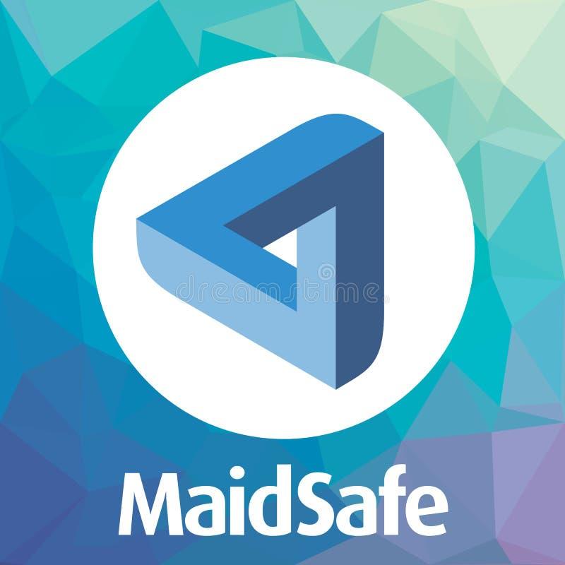 A EMPREGADA DOMÉSTICA de MaidSafe descentralizou o logotipo do vetor da rede do criptocurrency do blockchain ilustração stock