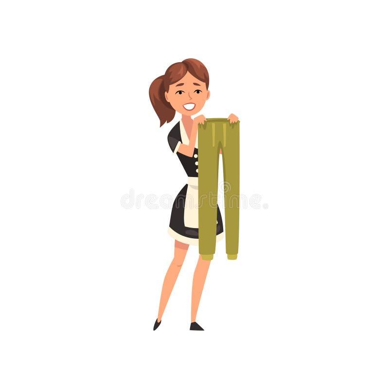 Empregada doméstica de sorriso que penduram culatras molhadas para fora para secar, caráter da empregada doméstica que veste o un ilustração stock
