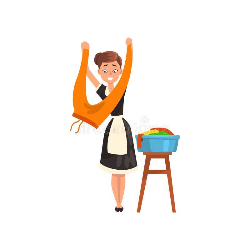 Empregada doméstica de sorriso que penduram a roupa molhada limpa para fora para secar, caráter da empregada doméstica que veste  ilustração stock