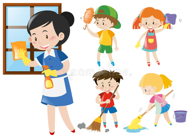 Empregada doméstica e crianças que fazem tarefas ilustração do vetor