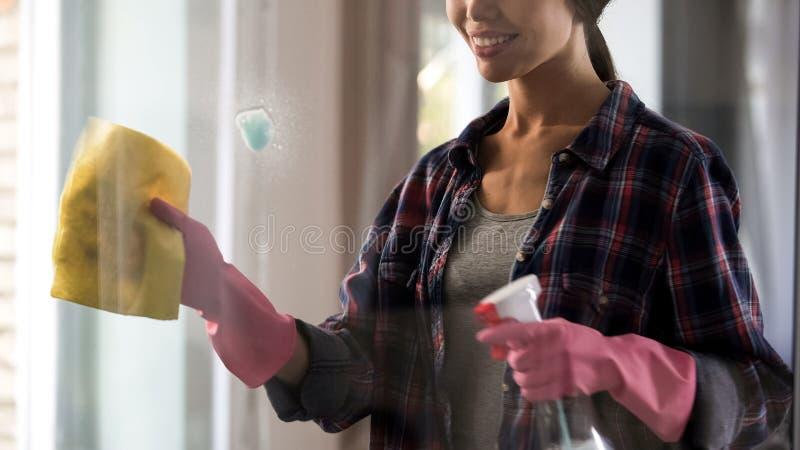 Empregada doméstica fêmea do hotel nas luvas que limpam a janela de vidro após o pulverizador, remoção da mancha fotografia de stock royalty free