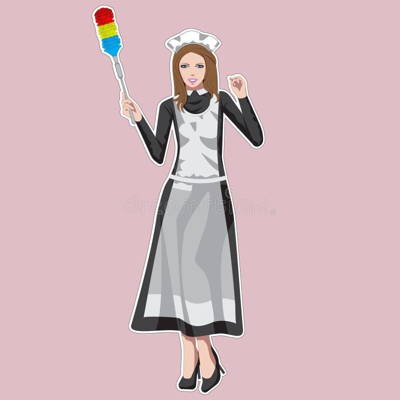 Empregada dom?stica, menina vestida na roupa francesa cl?ssica da empregada dom?stica, guardando a escova da poeira Ilustra??o do ilustração do vetor