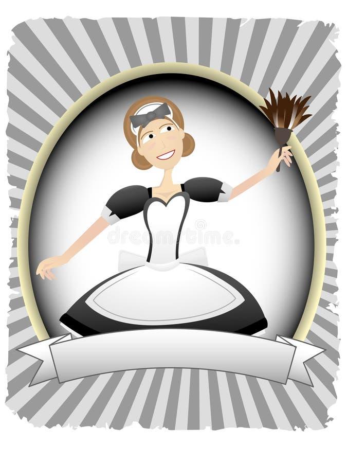 Empregada doméstica no ajuste oval da bandeira do espaço em branco do anúncio ilustração royalty free