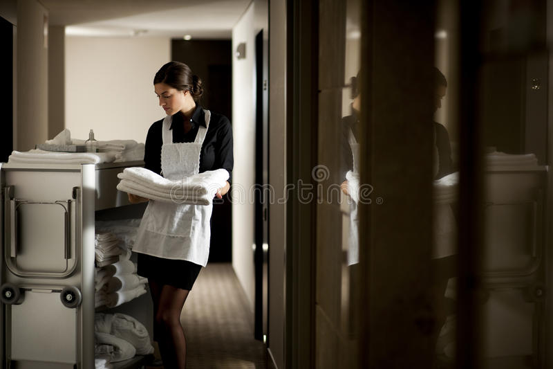 Empregada doméstica no trabalho fotografia de stock royalty free