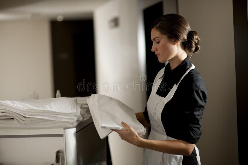 Empregada doméstica no trabalho imagens de stock