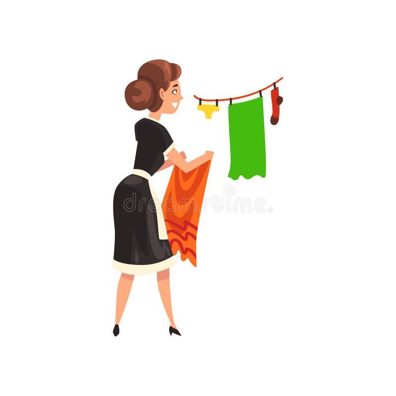 Empregada doméstica que penduram a roupa molhada limpa para fora para secar, caráter da empregada doméstica que veste o uniforme  ilustração stock