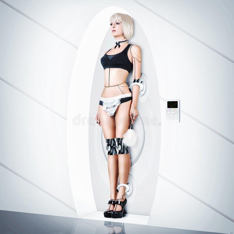 Empregada doméstica 'sexy' do terno fêmea do cyborg fotos de stock