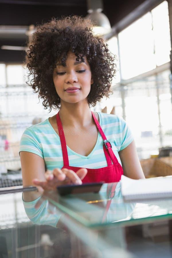 Empregado bonito no avental vermelho usando a calculadora imagem de stock royalty free