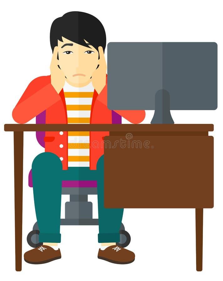 Empregado cansado que senta-se no escritório ilustração stock