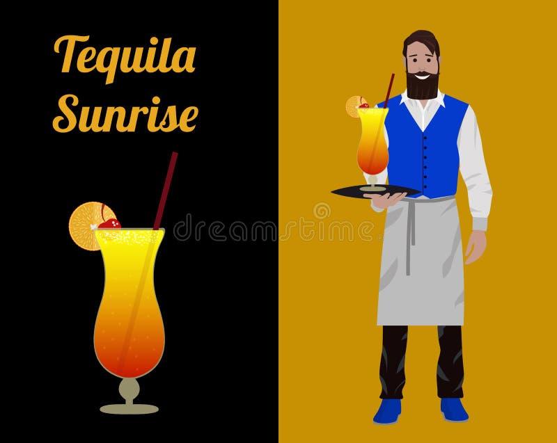 Empregado de bar do cocktail ilustração royalty free