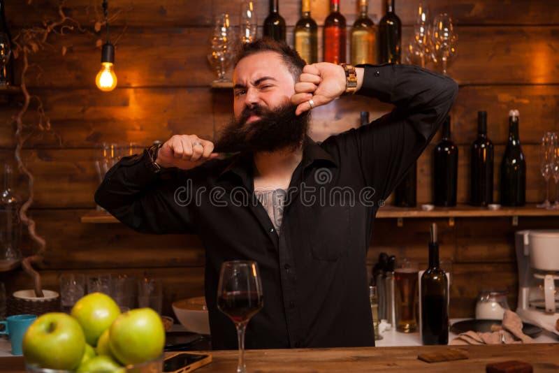 Empregado de bar farpado que ? engra?ado com sua barba atr?s do contador imagem de stock royalty free