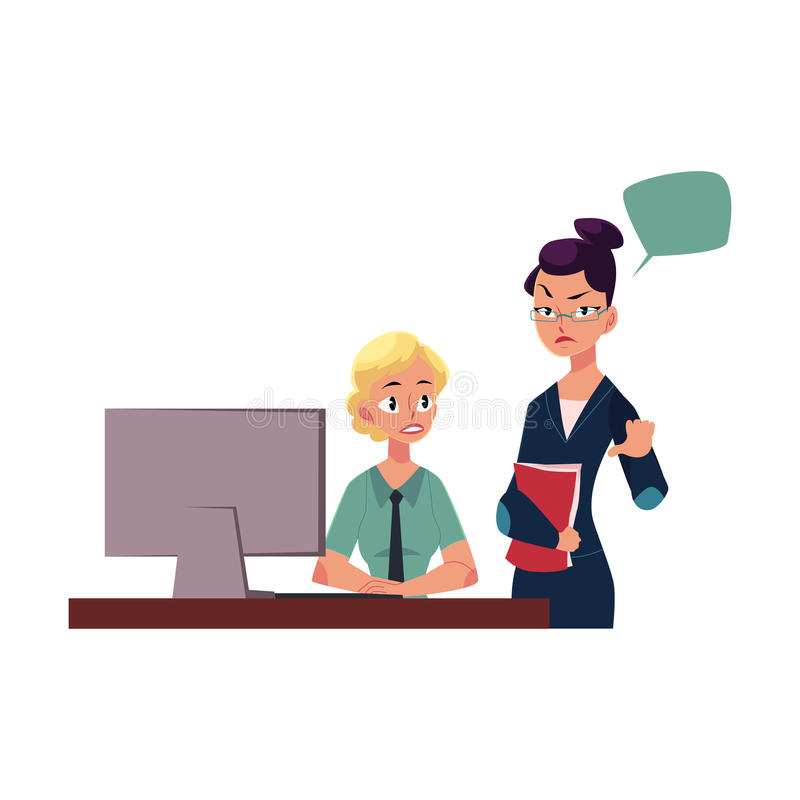 Empregado de controlo desagradado do chefe fêmea ilustração do vetor