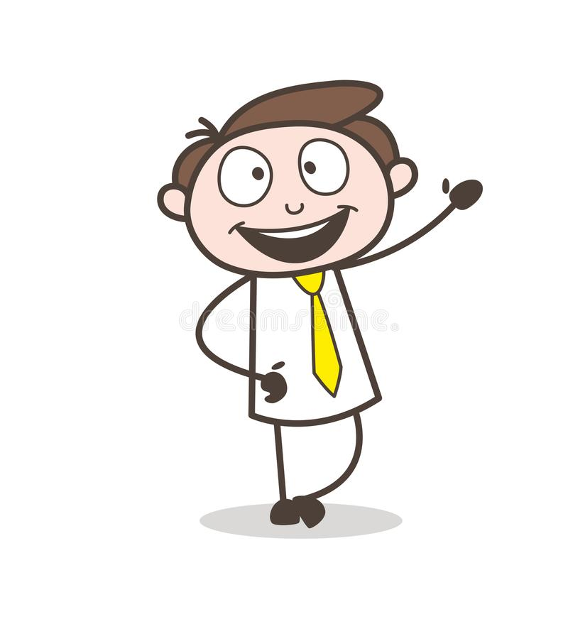 Empregado de escritório novo feliz que gesticula a ilustração do vetor da mão ilustração stock