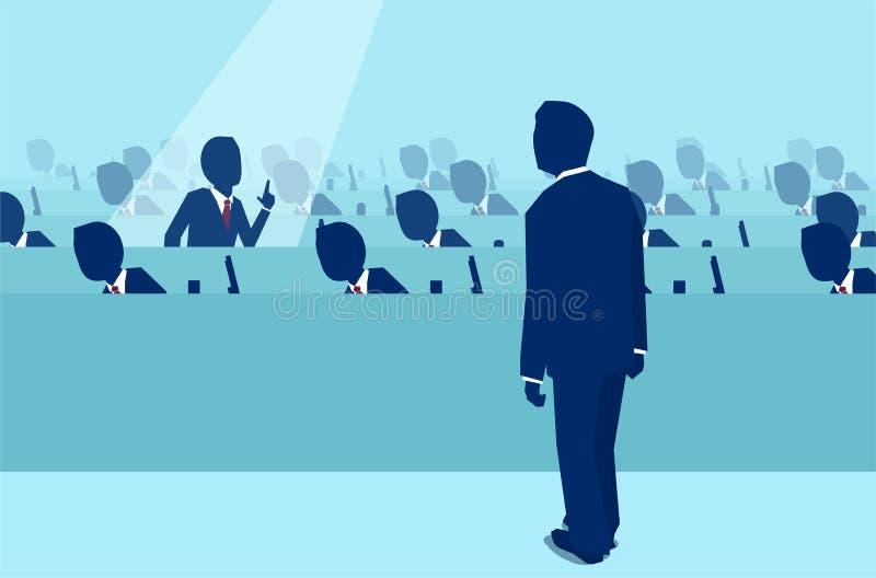 Empregado de escritório que levanta uma pergunta para um gerente do chefe ilustração stock