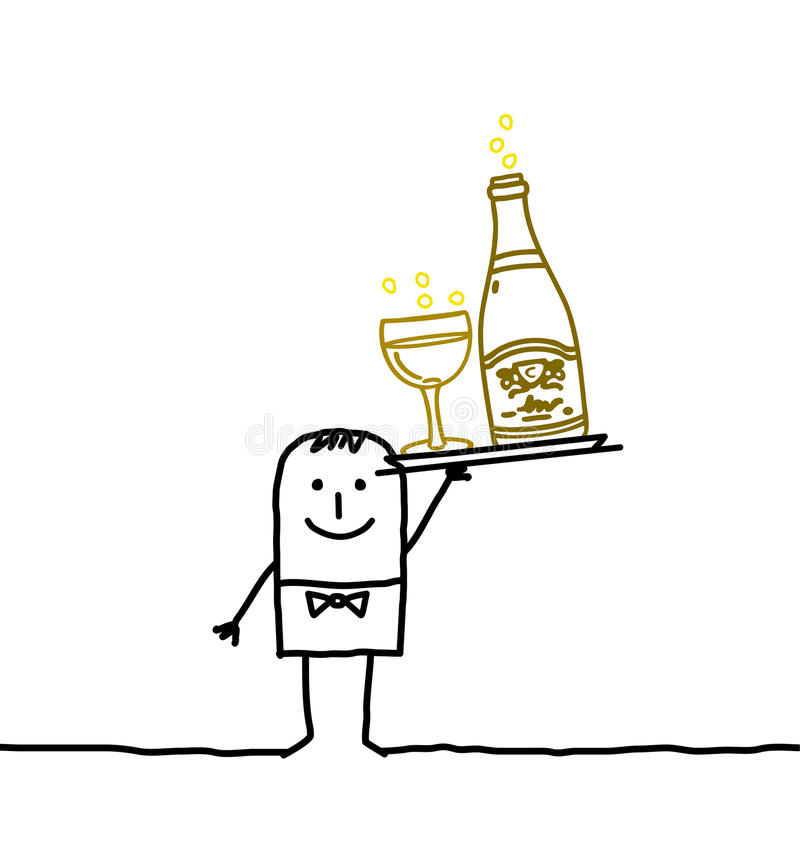 Empregado de mesa & Champagne ilustração do vetor