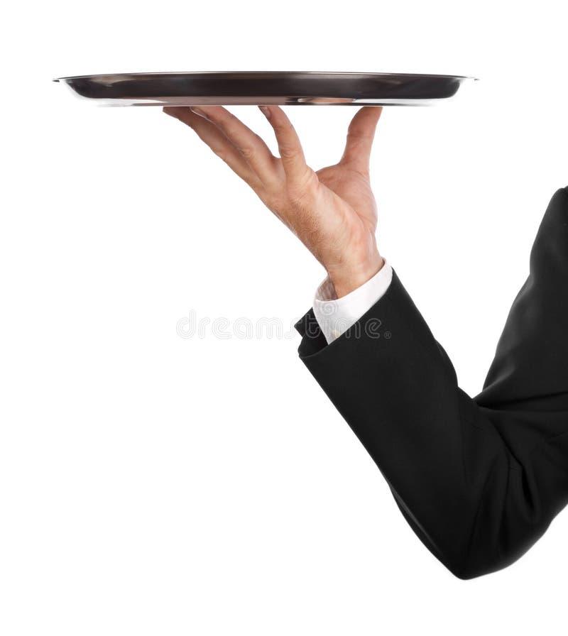 Empregado de mesa com bandeja fotos de stock royalty free