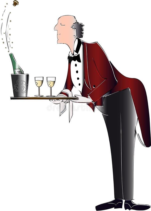 Empregado de mesa com bandeja ilustração stock