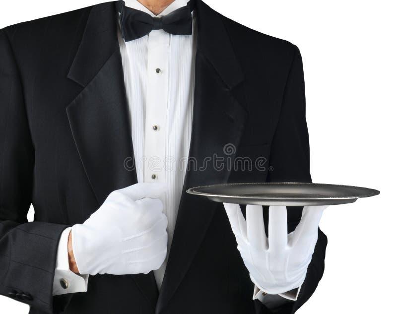 Empregado de mesa com bandeja de prata imagem de stock royalty free