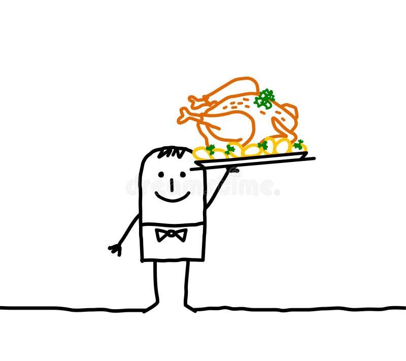 Empregado de mesa com galinha roasted