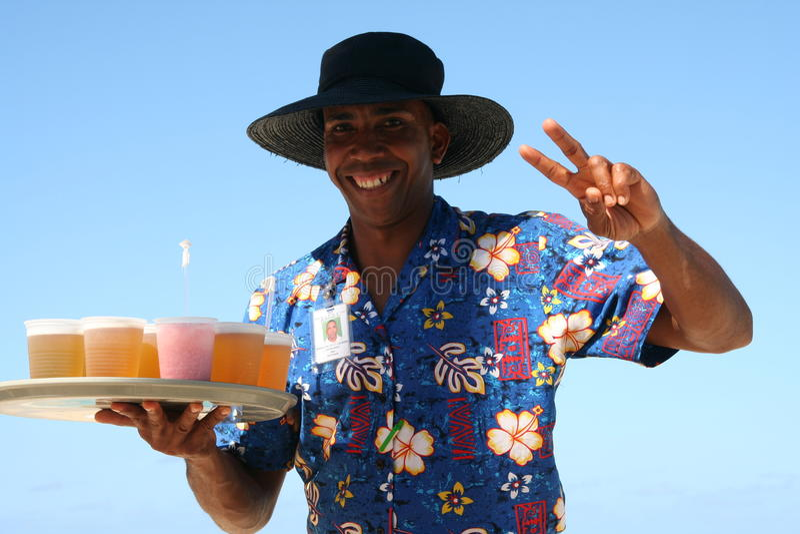 Empregado de mesa da praia de Bavaro fotos de stock royalty free