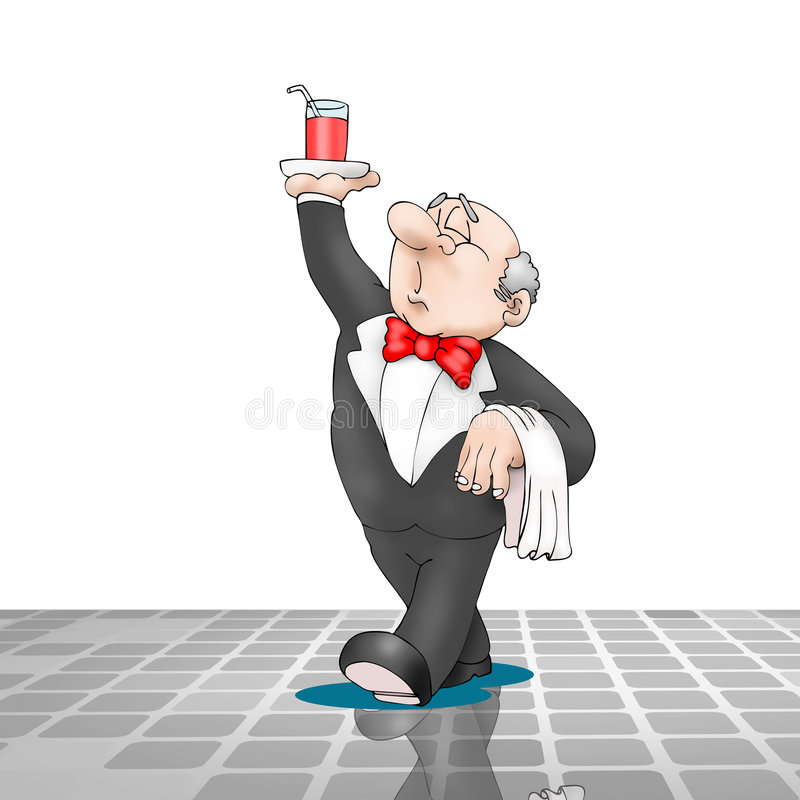 Empregado de mesa que anda com a bebida na bandeja ilustração royalty free