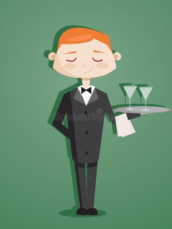 Empregado de mesa retro dos desenhos animados ilustração stock
