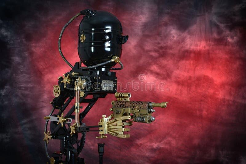 Empregado mecânico With Pistol de Steampunk imagem de stock royalty free