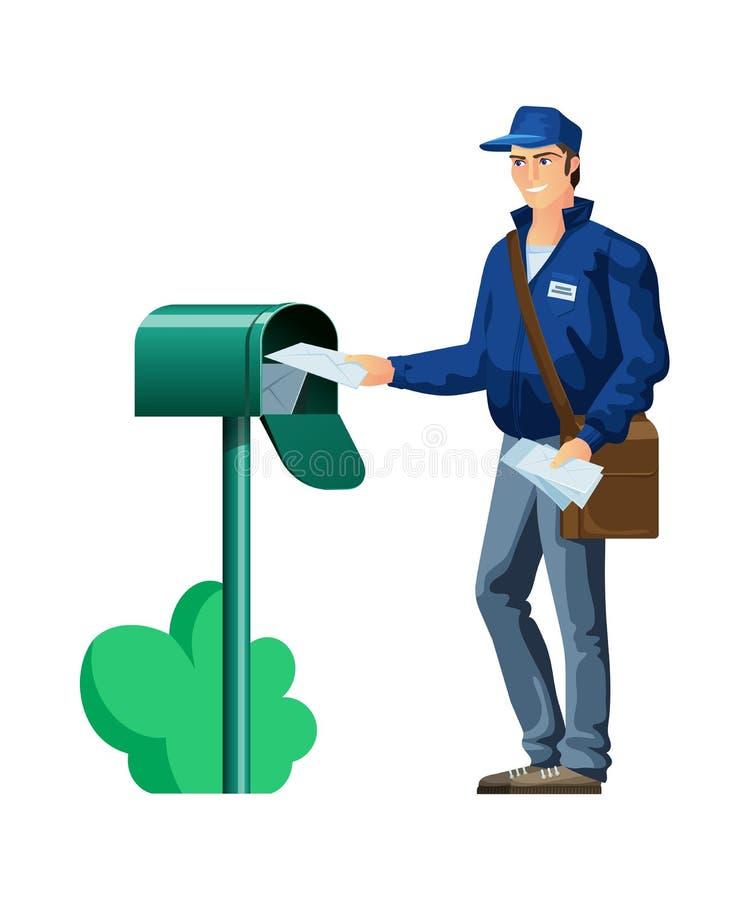Empregado postal, caráter, carteiro do correio Serviço de correio, entrega expressa ilustração royalty free