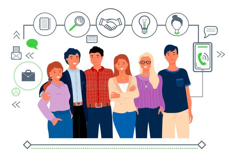 Empregadores, linha Art Icons Isolated People Vetor ilustração stock
