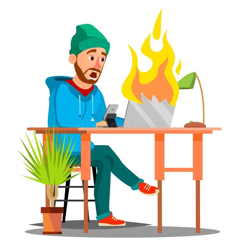 Empregados assustado que sentam-se na tabela e no Burning com vetor do portátil do fogo Ilustração isolada ilustração do vetor