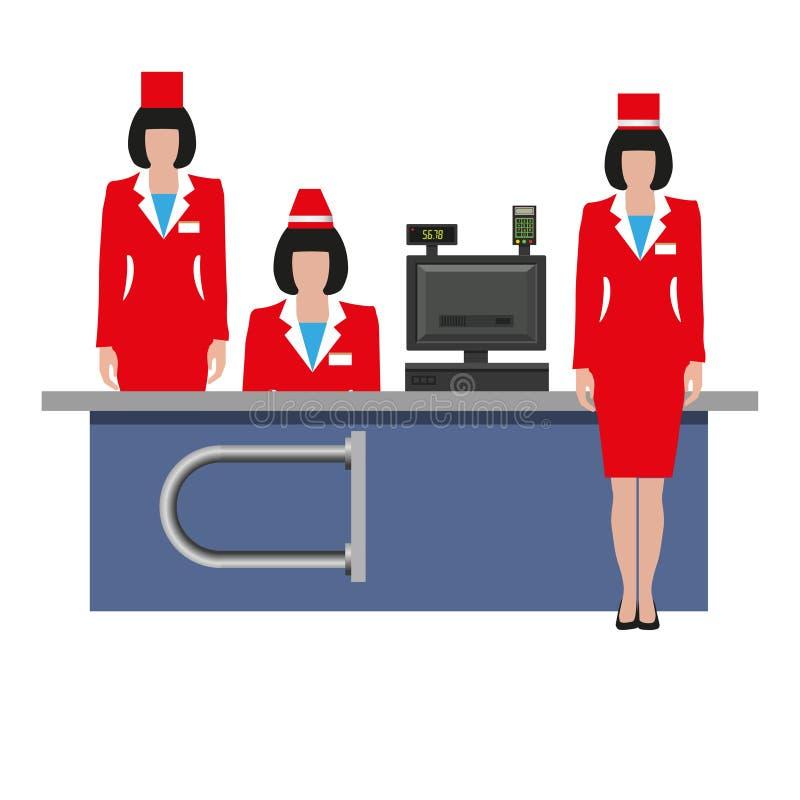 Empregados da loja no uniforme ilustração royalty free