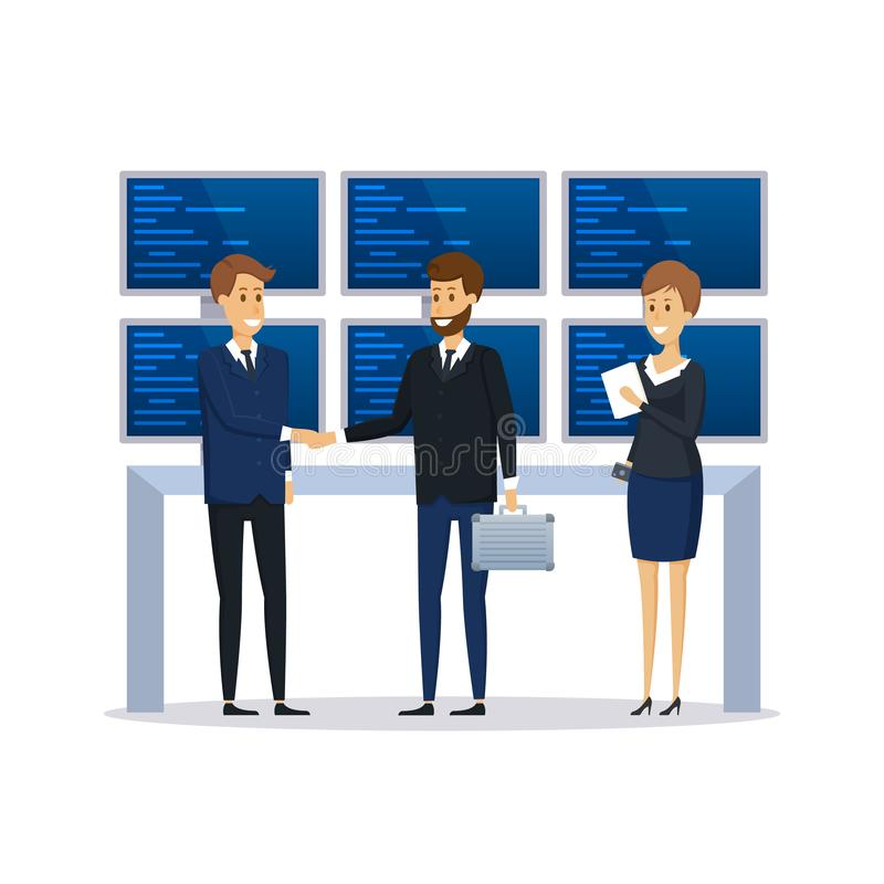 Empregados da organização financeira, colegas, discussão da conduta da conversação ilustração royalty free
