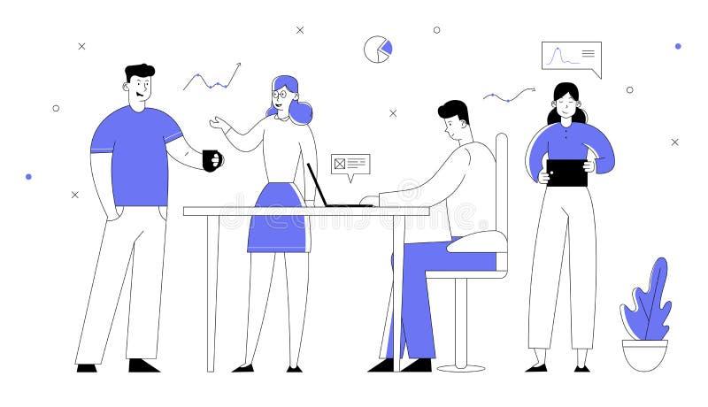 Empregados de escritório que trabalham o processo Homens de negócios e gerentes Team Developing Creative Project das mulheres de  ilustração stock