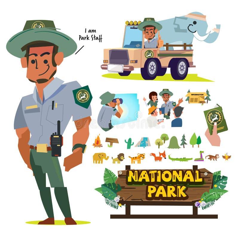Empregados de National Park Service ou pessoal, jogo de caracteres do oficial da floresta trabalho e carreira no conceito do parq ilustração royalty free