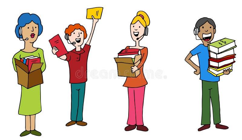 Empregados do operador de centro de atendimento de Dontation da movimentação de livro ilustração royalty free