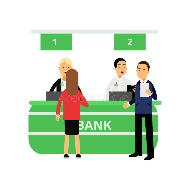Empregados e clientes alegres do banco na mesa de recepção Serviço de operação bancária Caráteres das mulheres e dos homens dos d ilustração stock