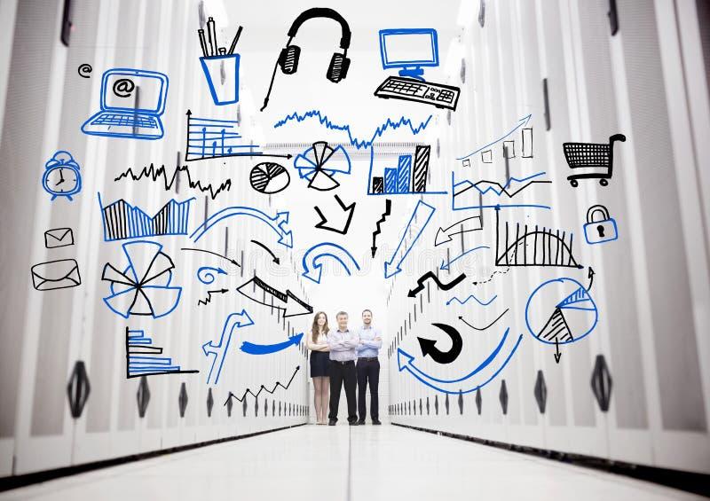 Empregados em um centro de dados que está na frente dos desenhos ilustração royalty free