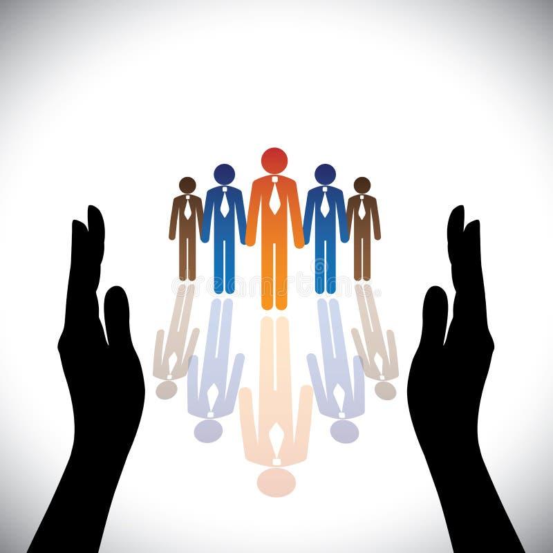 Empregados incorporados (proteja) da empresa segura do conceito, executivos ilustração royalty free