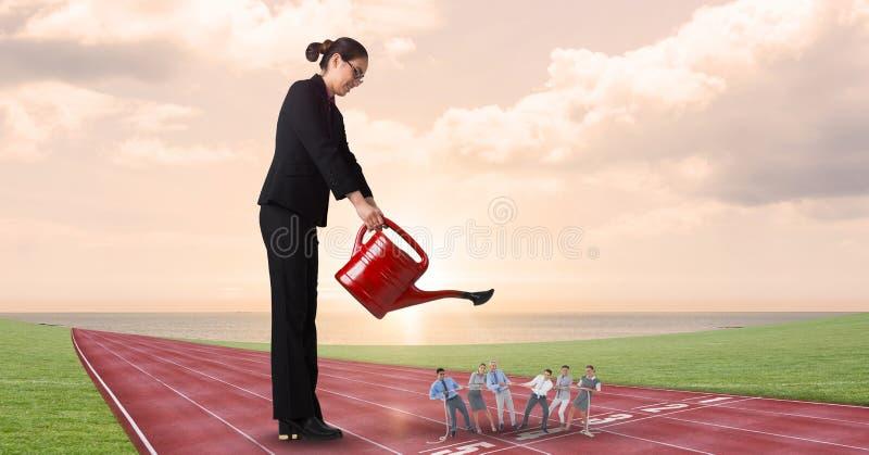 Empregados molhando da mulher de negócios em pistas de atletismo contra o céu nebuloso ilustração do vetor