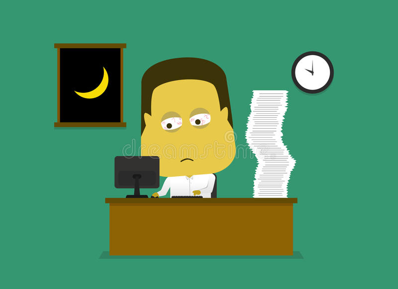 Empregados que são cansados do trabalho fora do tempo estipulado até tarde na noite ilustração stock